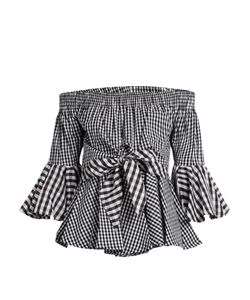 House Of Holland | Off-The-Shoulder Cotton-Gingham Top
