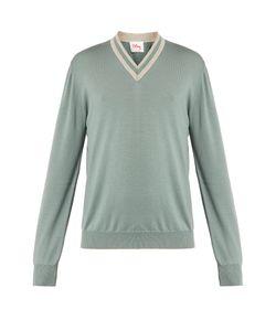 Orley | V-Neck Stripe-Trim Wool Sweater