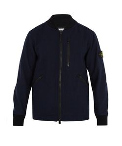 Stone Island | Contrast-Collar Wool-Blend Bomber Jacket