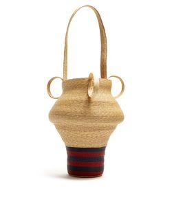 Rosie Assoulin | Striped Woven-Straw Jug Bag