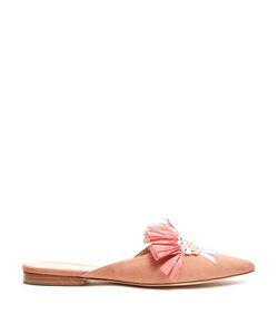 Delpozo | Point-Toe Embellished Suede Backless Flats