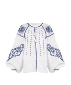 VITA KIN | Owl Cutwork-Embroidered Linen Blouse