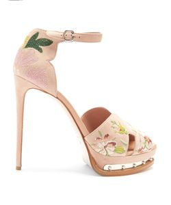 Alexander McQueen | -Embroidered Suede Platform Sandals