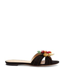 Charlotte Olympia | Tropical Suede Slides