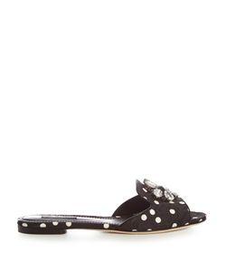 Dolce & Gabbana | Polka-Dot Print Crystal-Embellished Slides