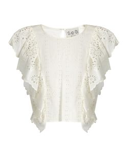 Sea | Ruffled-Front Broderie-Anglaise Cotton Top