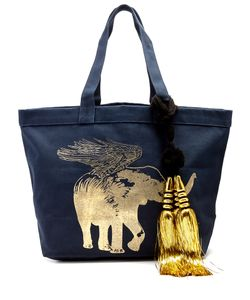 Figue | Flying Elephant-Print Canvas Tote