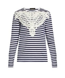 Burberry | Lace-Appliqué Striped T-Shirt