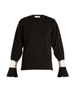 Toga | Flared-Cuff Sheer-Panel Wool Sweater