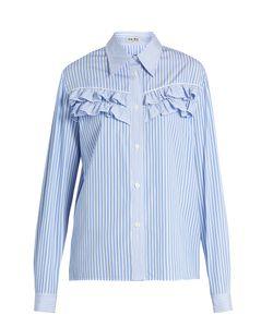 Miu Miu | Striped Ruffle-Trimmed Cotton-Poplin Shirt