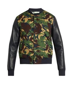 Off-White | Camouflage-Print Cotton And Leather Bomber Jacket