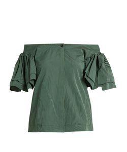 Isa Arfen | Ruffled Off-The-Shoulder Cotton-Poplin Top