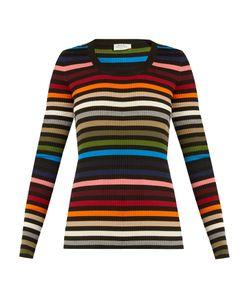 Sonia Rykiel | Striped Scoop-Neck Ribbed-Knit Sweater
