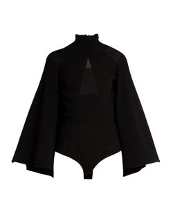 Balmain | High-Neck Sheer-Panelled Crepe Cape