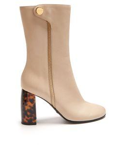 Stella McCartney   Block-Heel Faux-Leather Ankle Boots
