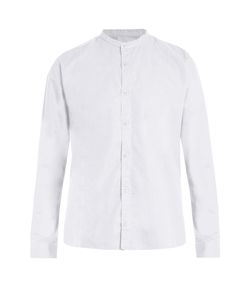 Sunspel | Granddad-Collar Cotton-Poplin Shirt