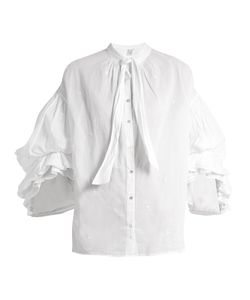 THIERRY COLSON | -Embroidered Tie-Neck Cotton-Lawn Blouse