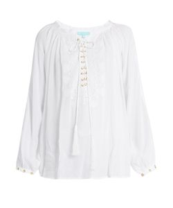 Melissa Odabash | Alessandra Lace-Up Embroidered Top