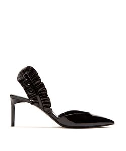 Saint Laurent | Edie Ruffle-Trimmed Patent-Leather Pumps