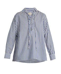 Nili Lotan | Shiloh Striped Cotton-Poplin Shirt