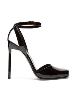 Saint Laurent | Edie Square-Toe Patent-Leather Sandals