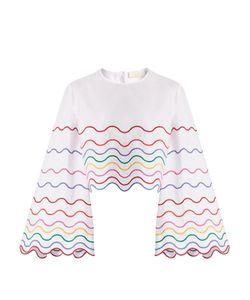 Sara Battaglia | Wave-Embroidered Bell-Sleeve Cotton Top