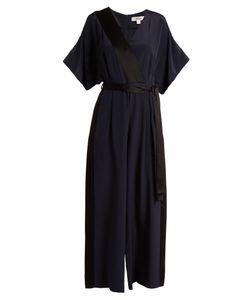 Diane von Furstenberg | Hammered-Satin Trimmed Silk Jumpsuit