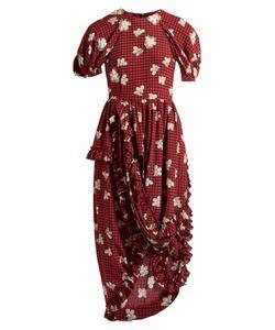 Simone Rocha | Gingham Andprint Ruffled Crepe Dress