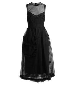 Simone Rocha | Feather-Embellished Tulle Midi Dress