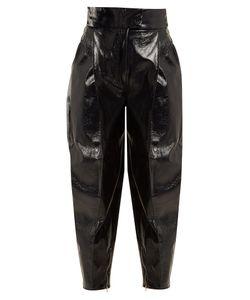 Wanda Nylon | High-Rise Tapered-Leg Coated Trousers
