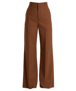 Chloé   Checked Wide-Leg Twill Trousers
