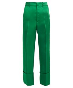 Gucci | Wide-Cuff Satin Cropped Trousers