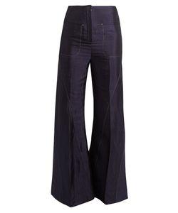 Esteban Cortazar   High-Rise Fla Charmeuse Trousers