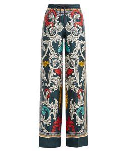 Mary Katrantzou   Tarot Queens-Print Wide-Leg Silk Trousers