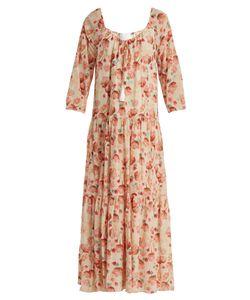 Athena Procopiou   Poppy In Love Drawstring-Neck Silk Dress