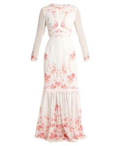 Vilshenko   Rose-Print Silk-Georgette Dress
