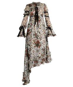 Erdem | Ines Asymmetric-Hem Voile Dress
