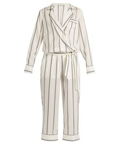 Brunello Cucinelli | Monili-Embellished Striped Silk Jumpsuit