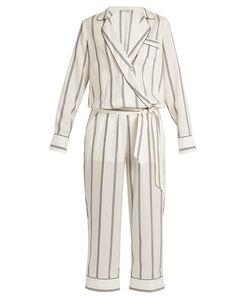 Brunello Cucinelli | Monili-Embellished Striped Silk Jumpsuit