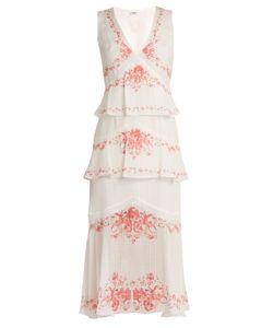 Vilshenko   Greta Print Tiered Silk Midi Dress