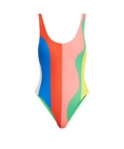 Mara Hoffman   Beach Ball-Print High-Cut Swimsuit