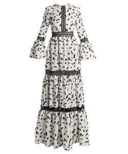 Huishan Zhang | Pouget Petal-Appliqué Twill Dress