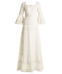 Talitha | Fluted-Sleeve Pleated Cotton Maxi Dress