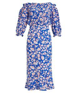 Saloni   Gracie Off-The-Shoulder Feather-Print Silk Dress