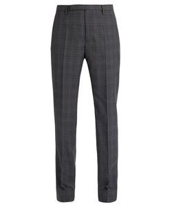 Maison Margiela | Mid-Rise Slim-Leg Wool-Plaid Trousers