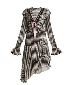 Preen by Thornton Bregazzi   Corin Ruffle-Trimmed Striped Silk-Devoré Dress