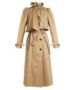 Preen by Thornton Bregazzi   Janis Ruffled-Neck Cotton Trench Coat