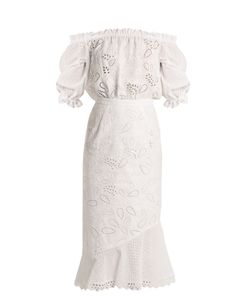 Saloni | Grace Broderie-Anglaise Off-The-Shoulder Dress