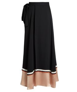 Roksanda | Leif Contrast-Panel Silk-Blend Crepe Skirt