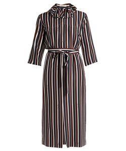 Nina Ricci | Striped Exaggerated-Collar Silk Midi Dress